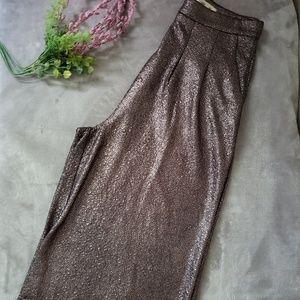 Love culture gold dressy gold wide leg capri. Sz L